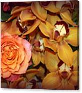 Pink Rose And Yellow Orchids Canvas Print