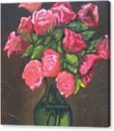 Pink Roses And Vase Canvas Print