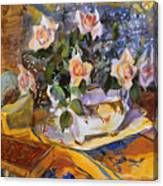 Pink Roses In Gaye's Dish Canvas Print