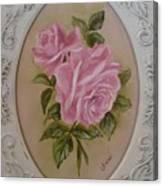Pink Roses Oval Framed Canvas Print
