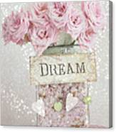 Shabby Chic Dreamy Pink Roses - Cottage Chic Pink Romantic Roses In Jar  - Dream Roses Canvas Print