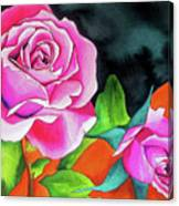 Pink Roses With Orange Canvas Print