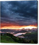 Pink Sunrise And Blue Clouds In The Mountains Of Kamnik Savinja  Canvas Print