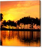 Pink Sunset And Palms Canvas Print