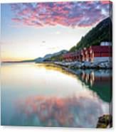 Pink Sunset Over A Lagoon In Norway Canvas Print