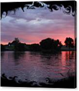 Pink Sunset Panorama With Black Framing Canvas Print