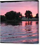 Pink Sunset With Soft Waves In Black Framing Canvas Print
