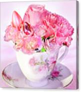Pink Teacup Bouquet Canvas Print