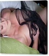Pinup Model Alicia Maria Rose In Black Lace Canvas Print