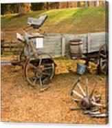 Pioneer Wagon And Broken Wheel Canvas Print