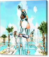 Pipe Human Figures Creating On Oasis Number Two Canvas Print