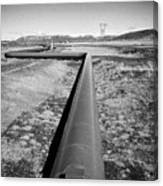 pipeline carrying hot water to reykjavik from Hellisheidi geothermal combined heat and power station Canvas Print