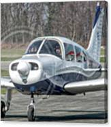 Piper Pa28 I-cnpg Taxiing To The Runway Canvas Print