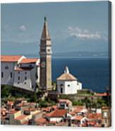 Piran Slovenia With St George's Cathedral Belfry And Baptistery  Canvas Print