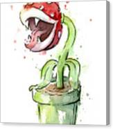 Piranha Plant Watercolor Canvas Print