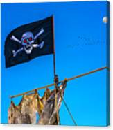 Pirate Flag And Moon Canvas Print