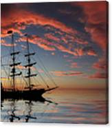 Pirate Ship At Sunset Canvas Print