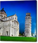 Pisa Cathedral With The Leaning Tower Of Pisa, Tuscany, Italy At Night Canvas Print