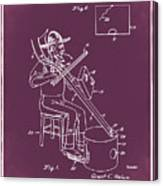 Pitch Fork Fiddle And Drum Patent 1936 - Red Canvas Print