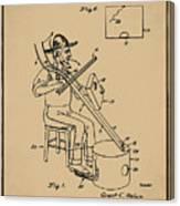 Pitch Fork Fiddle And Drum Patent 1936 - Sepia Canvas Print