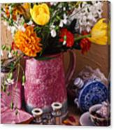Pitcher Of Flowers Still Life Canvas Print