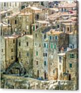 Pitigliano Houses Closeup Grosseto Tuscany Canvas Print