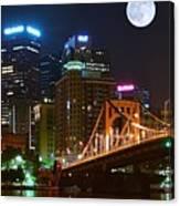 Pittsburgh Full Moon Panoramic Canvas Print