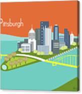 Pittsburgh Pennsylvania Horizontal Skyline - Orange Canvas Print