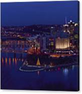 Pittsburgh Skyline At Night Christmas Time Canvas Print
