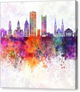 Pittsburgh V2 Skyline In Watercolor Background Canvas Print