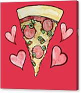 Pizza Lovers Valentine Canvas Print