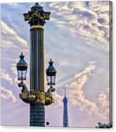 Place De La Concorde View Eiffeltower Canvas Print