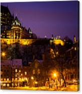 Place-royale At Twilight Quebec City Canada Canvas Print