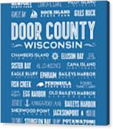 Places Of Door County On Blue Canvas Print