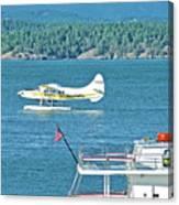 Plane Coming Into Friday Harbor On San Juan Island, Washington Canvas Print