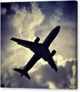 Plane Landing In London Canvas Print