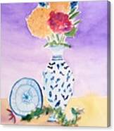 Plate And Flowers Canvas Print