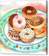 Plate Of Donuts Canvas Print