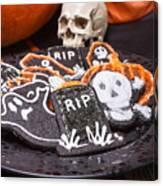 Plate Of Halloween Sugar Cookies Canvas Print