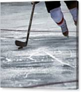 Player And Puck Canvas Print