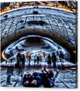 Playful Ladies By Chicago's Bean  Canvas Print