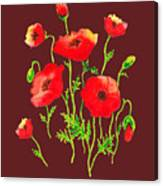 Playful Poppy Flowers Canvas Print
