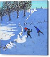 Playing In The Snow Youlgrave, Derbyshire Canvas Print