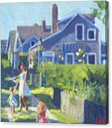 Playing On Front Street Canvas Print