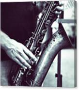 Playing The Saxophone Canvas Print