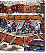 Playoff Time At The Local Hockey Rink Montreal Winter Scenes Paintings Best Canadian Art C Spandau Canvas Print