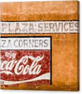 Plaza Corner Coca Cola Sign Canvas Print