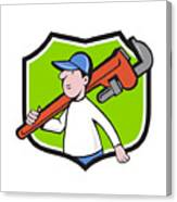 Plumber Holding Monkey Wrench Crest Cartoon Canvas Print