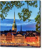 Poetic Stockholm Blue Hour Canvas Print