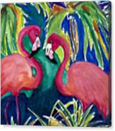 Poin And Settia Dine At The Palm Canvas Print